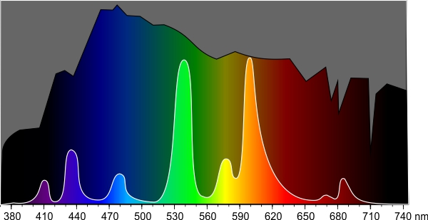 Spektralverteilung einer preiswerten Leuchstofflame im Vergleich zum Sonnenspektrum